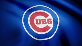Chicago Cubs-Flagge, amerikanisches Team des professionellen Baseballs Baseball-Chicago Cubs-Teamlogo, nahtlose Schleife redaktio lizenzfreie abbildung