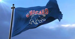 Chicago Cubs team flag, american professional baseball team, waving - loop. Flag of the team of the Chicago Cubs, american professional baseball team, waving at stock footage
