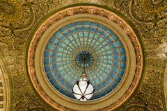 Chicago Cultural Center. Chicago - September 8, 2015: World's largest Tiffany glass dome ceiling in the Cultural Center in Chicago, Illinois stock photography