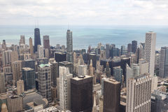 Chicago da baixa na noite em preto e branco Foto de Stock Royalty Free