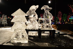 Chicago, de V 31 December 2016 De beeldhouwwerken van het ijs Stock Foto's