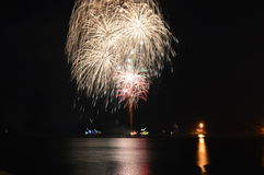 Chicago, de V 1 Januari 2017 Vuurwerk bij Marinepijler aan welcom Royalty-vrije Stock Fotografie