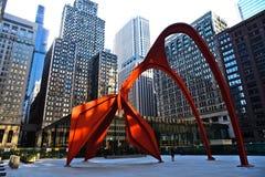chicago dearborn i stadens centrum flamingo Arkivbilder