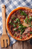 Chicago deep dish pizza close-up. vertical top view Royalty Free Stock Images