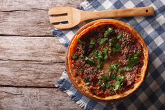 Chicago deep dish pizza on the table. horizontal top view Royalty Free Stock Photography