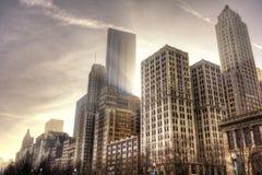 Chicago del centro all'indicatore luminoso di pomeriggio Fotografia Stock Libera da Diritti