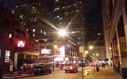Chicago del centro alla notte fotografie stock