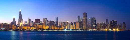 Panorama dell'orizzonte di Chicago Fotografie Stock