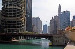 Chicago del centro, fiume del Chicago Fotografia Stock Libera da Diritti