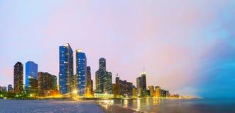 Chicago del centro, IL al tramonto Fotografia Stock