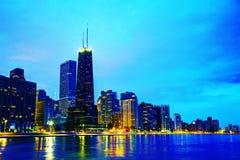 Chicago del centro, IL al tramonto Fotografie Stock Libere da Diritti
