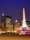 Chicago del centro osservato dalla base di Buckingha fotografia stock