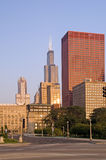 Chicago del centro, vie e vita urbana Fotografia Stock