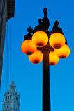 Chicago: details of a street lamp lit and Wrigley building on September 22, 2014 Stock Photos