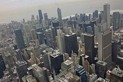Chicago do centro durante o inverno em um dia aborrecido imagem de stock