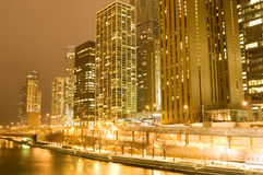 Chicago downtown. Area at night Stock Image