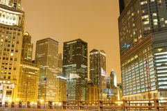 Chicago downtown. Area at night Royalty Free Stock Image