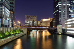 Chicago downtown. Bridge in Chicago downtown at night Stock Image