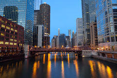 Chicago Downtown. Image of Chicago downtown riverfront at sunset Royalty Free Stock Photos