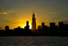Chicago Downtown. Beautiful afternoon scene of downtown, Chicago. Chicago gives perfect sunset photos because sun goes down right behind it Royalty Free Stock Photos