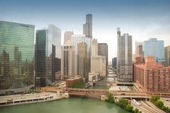 Chicago downtown. Beautiful morning scene of Chicago with bridges aligned along the river stock photo