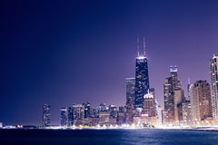 Chicago Downtown. Skyline at Night Royalty Free Stock Photo