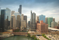 Chicago downtown. Beautiful morning scene of Chicago with bridges aligned along the river Stock Photography