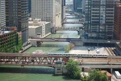 CHICAGO DOWNTOWN. Beautiful morning scene of Chicago with bridges aligned along the river Royalty Free Stock Photo