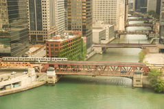Chicago downtown. Beautiful morning scene of Chicago with bridges aligned along the river Royalty Free Stock Photos