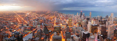 Chicago downtown aerial panorama. View at dusk with skyscrapers and city skyline at Michigan lakefront Royalty Free Stock Images