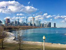 Chicago. Downtown Chicago as seen from the Shedd Aquarium Stock Photography