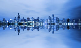 Chicago Downtown. Blue Chicago Downtown At Night Royalty Free Stock Images