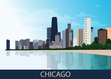 Chicago downtown business area background with skyscrapers, lake Michigan, park with green trees and blue sky at summer day. Great. View of big usa city. Vector royalty free illustration