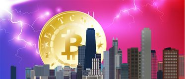 Chicago downtown business and finance area background with skyscrapers and bitcoin on storm background with lightnings. USA urban stock illustration