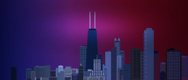 Chicago downtown business and finance area background with skyscrapers on blue and red background. Great view of big usa city. Vec. Tor illustration EPS10 royalty free illustration