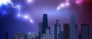 Chicago downtown business and finance area background with skyscrapers on storm background with lightnings. USA urban cityscape. V. Ector illustration EPS10 Royalty Free Stock Photography