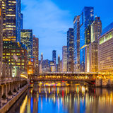 Chicago downtown and Chicago River. At night Stock Images