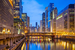 Chicago downtown and Chicago River Stock Photos