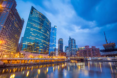 Chicago downtown and Chicago River. At night Stock Image