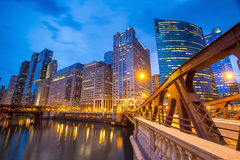 Chicago downtown and Chicago River. At night Royalty Free Stock Photos