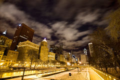 Chicago Downtown City. Night Photography Royalty Free Stock Photo