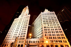 Chicago Downtown City. Night Photography Wrigley Square Stock Photography