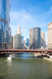 Chicago downtown. City of Chicago downtown and River with bridges Royalty Free Stock Photos