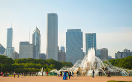 Chicago downtown cityscape with Buckingham Fountain at Grant Par Royalty Free Stock Photo