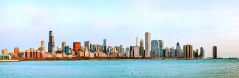 Chicago downtown cityscape panorama Stock Photos