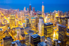 Chicago downtown at dusk Stock Image