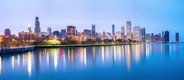 Chicago downtown and Lake Michigan Panorama. Panorama of Chicago downtown City and Lake Michigan at dusk Royalty Free Stock Images