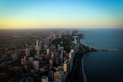 Chicago downtown and Michigan Lake panoramic view, Illinois, USA. Chicago downtown and Michigan Lake panoramic view with skyscrapers and streets, Illinois, USA Stock Images