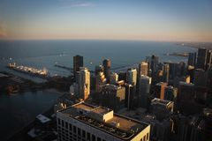 Chicago downtown and Michigan Lake panoramic view, Illinois, USA. Chicago downtown and Michigan Lake panoramic view with skyscrapers and streets, Illinois, USA Stock Photos