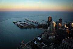 Chicago downtown and Michigan Lake panoramic view, Illinois, USA. Chicago downtown and Michigan Lake panoramic view with skyscrappers and streets, Illinois, USA Royalty Free Stock Images